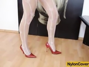 Nylon mask and sky-high heels