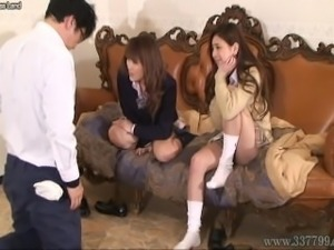 Japanese cute girl makes a man taste a tits for cash