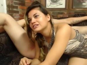 Latin girl licks ass on webcam