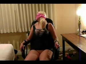 Big boob girl tied to office chair