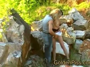 German mature lady loves natursekt play with