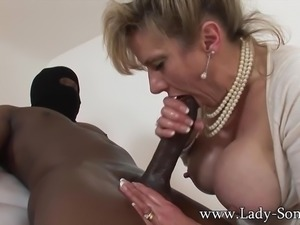 MILF Lady Sonia strokes HUGE black cock