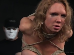 There's no way out for this slutty blonde. As she's strongly tied up with...
