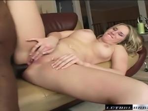 Busty young blonde Cassidy Blue deepthroats and fucks Tee Reel's big black cock