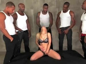 Ashley Fires sucks and fucks 5 big black cocks