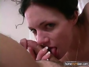 Blowjob from curly amateur wife in hot amateur porn 1