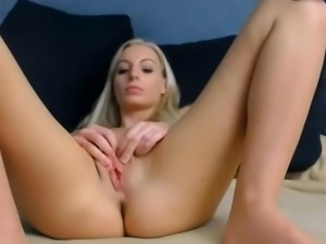 Blond tight shaved pussy rubbing clit small tits doggy