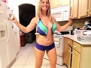 Awesome blonde with great tits poses naked for a live cam s