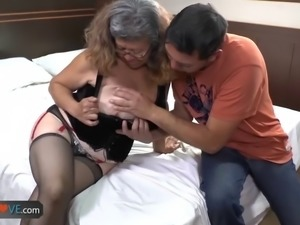 Nice aged brunette is fucking slowly with this young great man, who wants to...