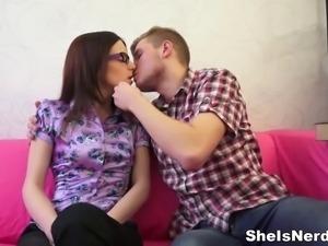 Big-headed college teen gets cum on her glasses