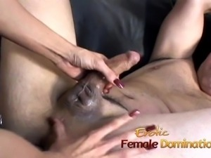 Beautiful brunette dominatrix makes her slave
