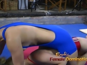 Bossy blonde bitch dominates a slave and suck