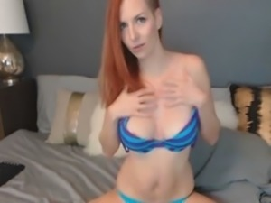 flawless redhead babe toy fucking wet pussy