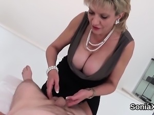 Unfaithful british milf lady sonia displays her large hooter