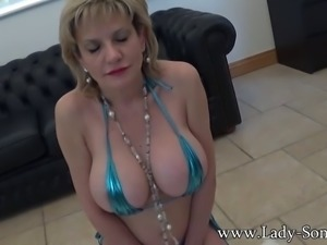 Lady-Sonia.com - UK Milf Lady Sonia gives blowjob and plays with huge tits...