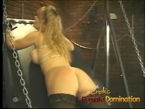 Curvy busty blonde slave gets her big ass flogged really