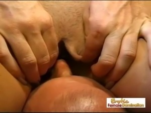 Submissive Husband Eats A Shaved Pussy