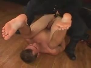 Policewoman strapons guy