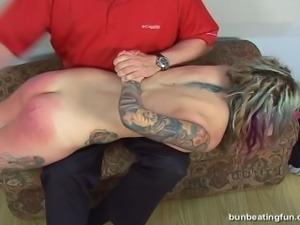 Tattooed beauty spanked !
