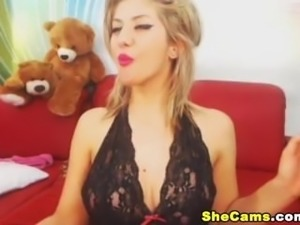Smoking Hot Blonde Shemale Strips and Stroke Her Cock