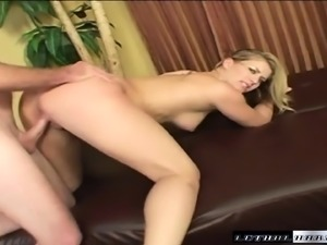 Playful young blonde can't help but moan while letting in this prick