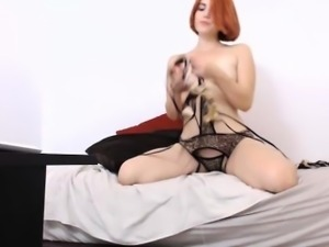 Vivacious girl takes her aching pussy to climax in front of