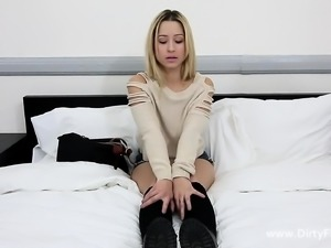 Slim blonde amateur with a perky ass takes a hard drilling for money