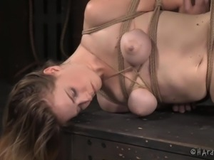 Redhead busty babe Ashley Lane, is brutally tied and suspended by severe...
