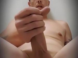 Man masterbating in public bathroom!