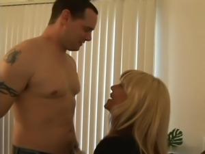 Blonde boss in stockings fucks employee