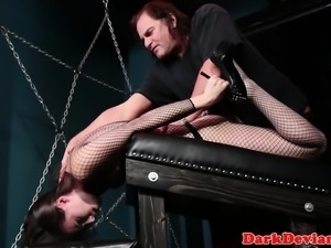 Hogtied submissive facefucked and facialed