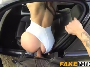 Busty slut Chantelle fucks the horny cop in the open field