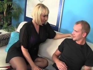 Blonde MILF Mellanie Monroe fucks step sons huge cock and tastes cum