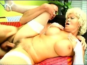 Mature blonde bimbo has a great time fucking a young stallion