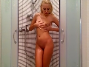 blonde masturbating in shower