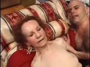 Older granny taken by two big dicks