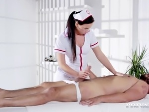 Who said nurses have to play nice? Natalee gets this guy hard before she's...