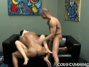 Striking blonde girl has a pair of bisexual boys fulfilling her needs