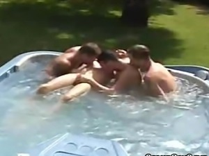 Jacuzzi Party Turns Into A Cock Sucking Session For These Men