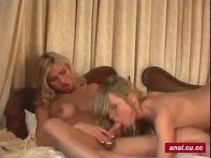 Naughty blonde shemale anal fucked hard