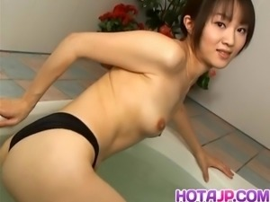 Japanese AV Model fondles her twat and boobs