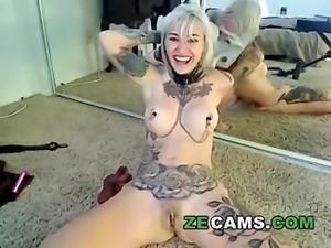Blonde tattooed piercing hard masturbation