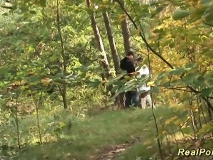 horny german couple doing wild anal fuck in the wood