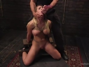 naked bonded babe gets mouth fucked