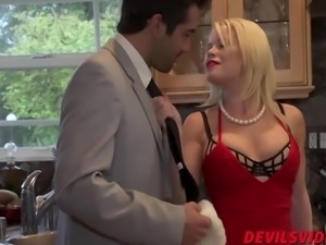 Hot Nikki Delano sucking in the kitchen