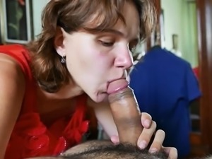 Submissive Wife gives blowjob, licks cum afterward