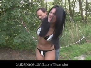 Outdoor dirty bondage humiliation for a broken teen slave
