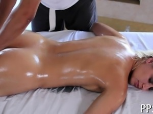 Sweet darling is delighting man with vigorous riding