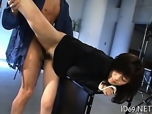 Eager man is licking all face and body of this pretty chick