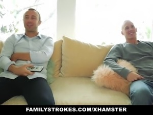 familyStrokes- Tricking Step-Sis Into A  Threesome